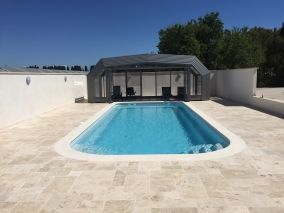 Photo piscine 10 x 4 avec abris piscine - Photo piscine en polyester